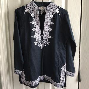 J. Crew linen embroidered tunic small top blouse